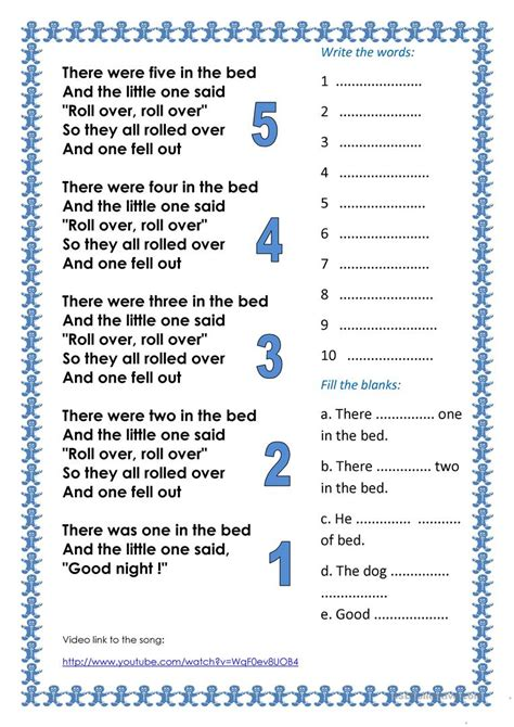 in the bedroom song counting song ten in the bed worksheet free esl printable worksheets made by teachers
