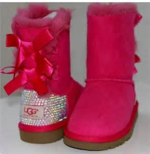 Ugg boots with bows and sparkles shoes boots ugg boots pink