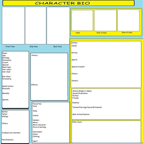 character biography exle character bio template by kitkattykomodo on deviantart