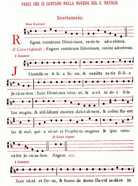 sonora l testo il canto regem venturum dominum nella novena di natale