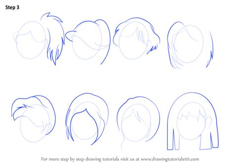 step by step hairstyles to draw learn how to draw anime hair female hair step by step