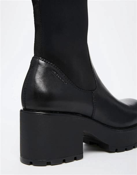 image 2 of vagabond dioon black leather mix ankle boots
