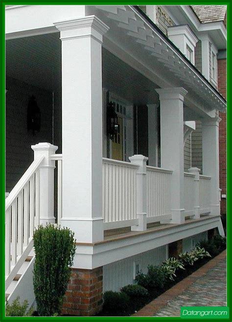 Exterior beauteous image of front porch decoration using white wood front porch column wraps