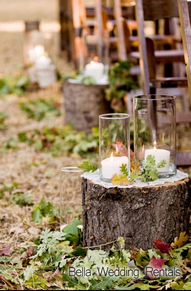 Wedding Aisle Trees by Wood Slices And Stumps Wedding Decor