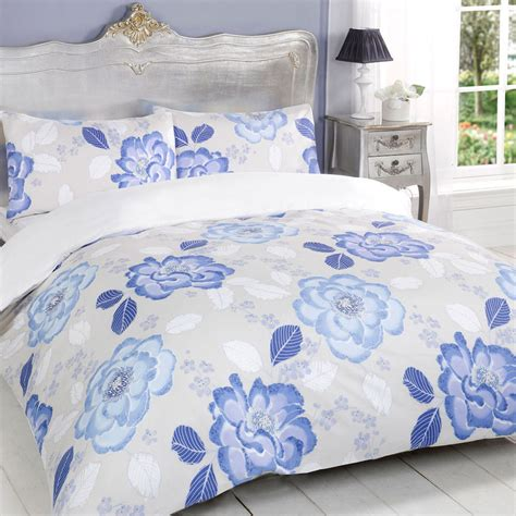 blue floral bedding bloom blue cream white floral peonies reversible duvet