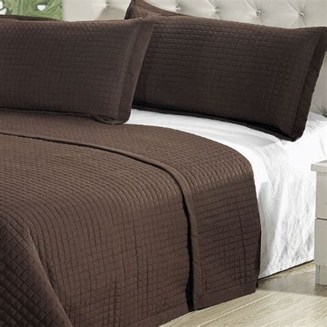 double bed coverlet modern solid chocolate brown coverlet quilt bedding set
