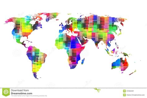 color world color world map stock vector image of continent cube