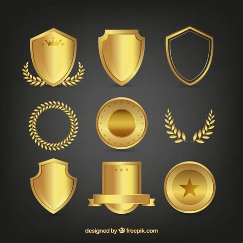 set of golden shields and laurel wreaths vector free