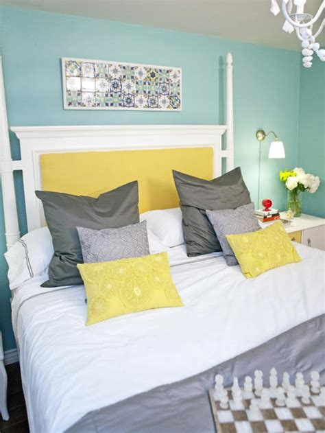 yellow and blue bedrooms blue bedroom with white four poster bed hgtv