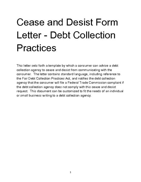 cease and desist letter template for debt collectors cease and desist letter template debt collector 28