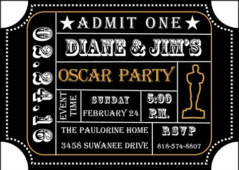 Academy Awards Party Invitations And Oscar Invitations New Selections For 2019 Oscar Awards Invitation Template