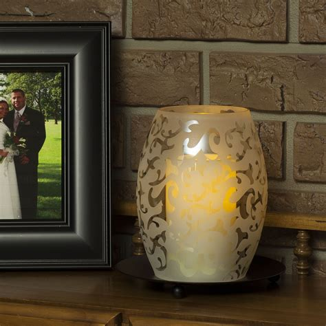 hurricane ls with flameless candles etched glass hurricane globe with free flameless candle