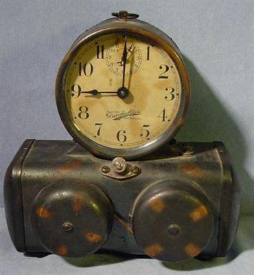 antique 1910 darche mfg searchlight electric battery alarm clock no reserve antique price