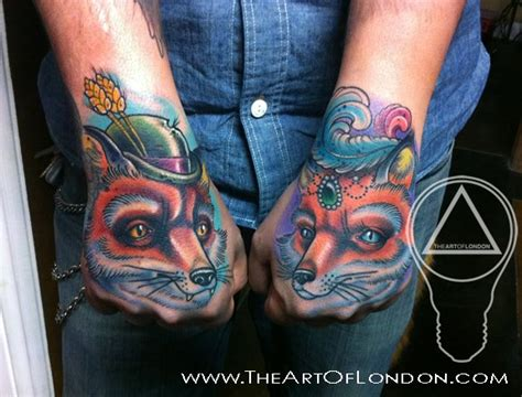 new school fox tattoo tatouage main personnage renard par the art of london