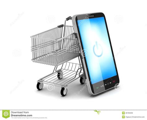 mobile phone shopping mobile phone and shopping cart stock illustration image