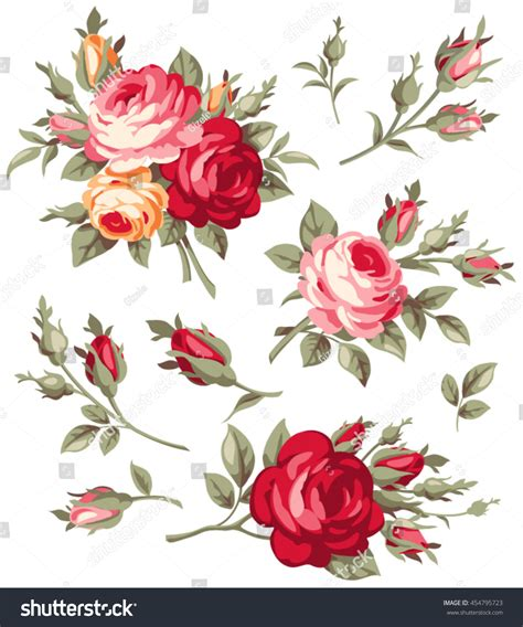 decorative vintage rose bud vector set stock vector