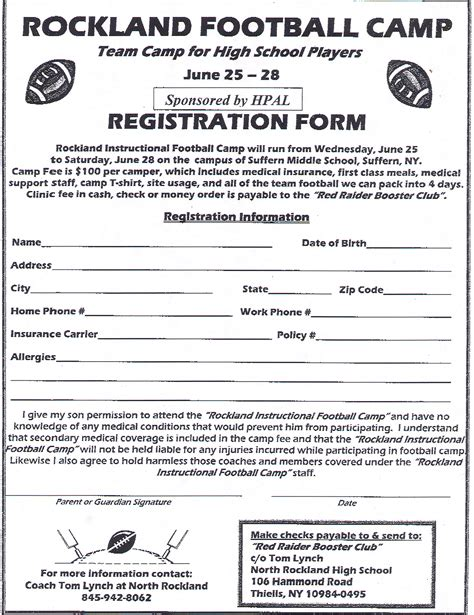 football registration form template pin football team