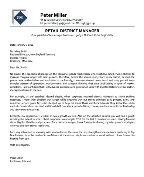 retail manager cover letter exles retail district manager executive cover letter
