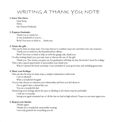 thank you letter essay exles sle writing thank you notes 8 documents in pdf