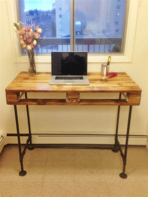 pallet stand up desk with steel pipe legs my diy s