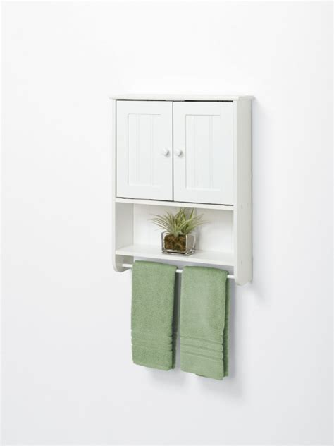 wood bathroom cabinet with towel rack