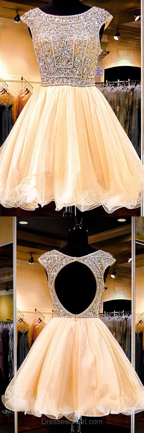 boat neck open back prom dress sexy open back princess homecoming dresses cap sleeve