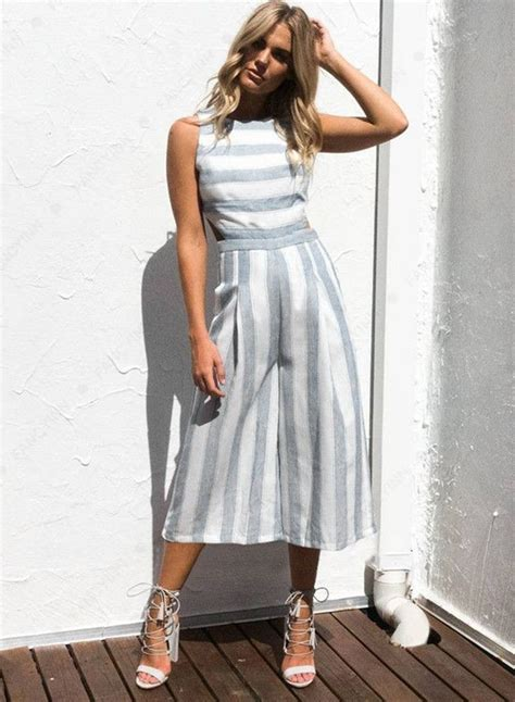 Sleeveless Wide Leg Jumpsuit s fashion sleeveless striped backless strappy wide