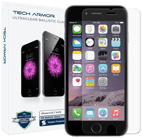 tech armor hd clear ballistic glass screen protector for iphone 6