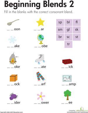 Consonant Blends Worksheets by Beginning Blends 2 Worksheet Education