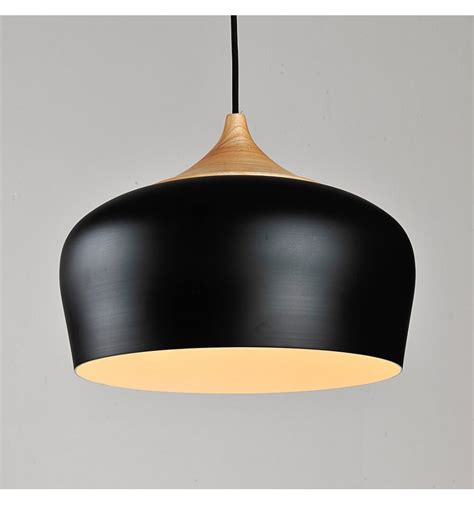 Modern Industrial Pendant Light Made Of Wood And Black Black Metal Pendant Lights