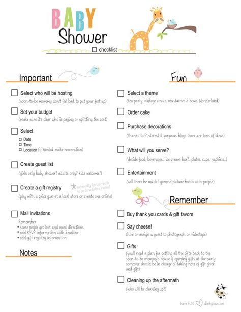 Things Needed For A Baby Shower by Free Printable Baby Shower Checklist Paste The Link