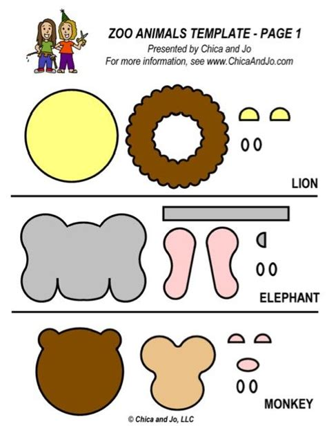 templates for zoo animals zoo animal fondant template zoo animals pinterest