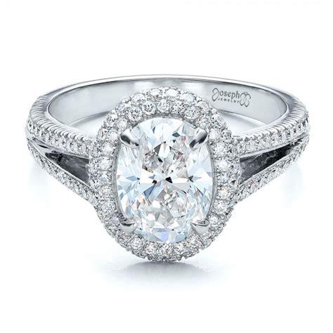 custom pave halo engagement ring 100009