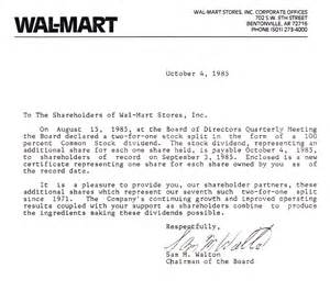 lessons from the past walmart dividend letter from 1985