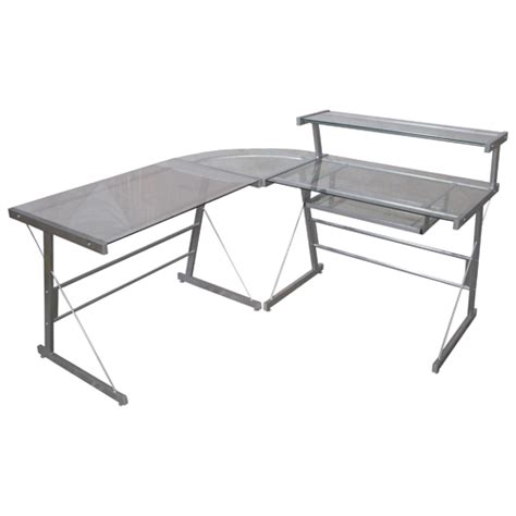 corner desk glass broderick glass top corner desk钢化玻璃电脑桌2 5折特卖 加拿大打折网