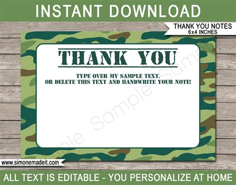 thank you army card template printable green camo thank you cards army birthday