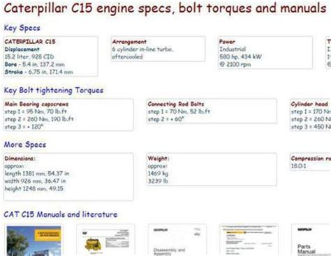 cat c15 engine manuals and spec sheets