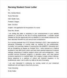 cover letter exles for student sle nursing cover letter template 8 free