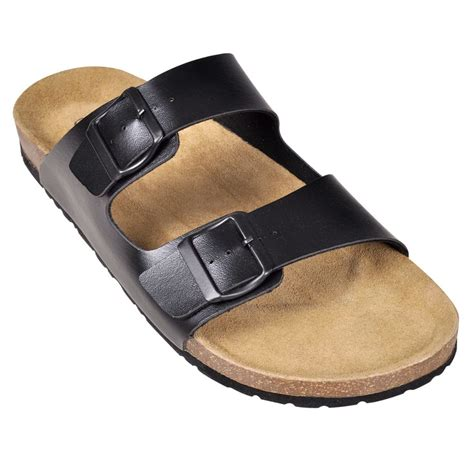 Black Unisex black unisex bio cork sandal with 2 buckle straps size 44 vidaxl co uk