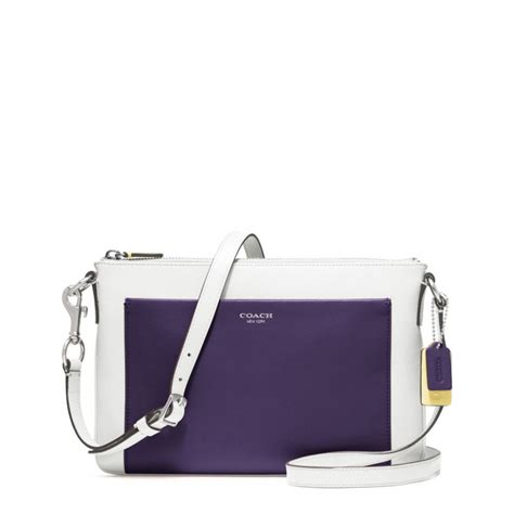 coach swing pack coach legacy colorblock leather swingpack in purple lyst