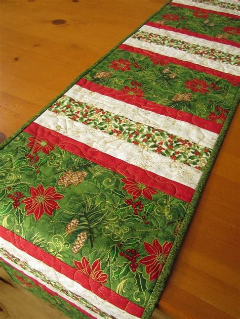 Handmade Table Runner - handmade table runner quilted stripes 48 00