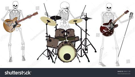 The Horror Musical Band Musik skeleton band stock vector 38421139