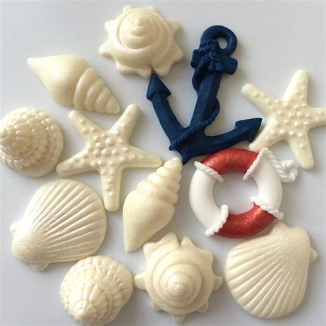 SEASHELLS ANCHOR LIFEBUOY edible nautical boat birthday