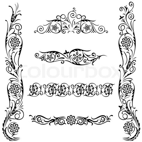 vector decorative design elements page decor vector set calligraphic design flower ornament swirling
