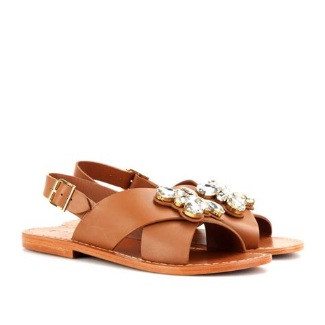 marni sandal marni embellished leather sandals in brown lyst
