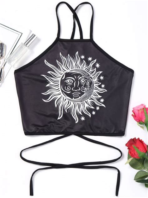 Lace Up Cropped Tank Top 2019 strappy cropped lace up tank top in black s zaful