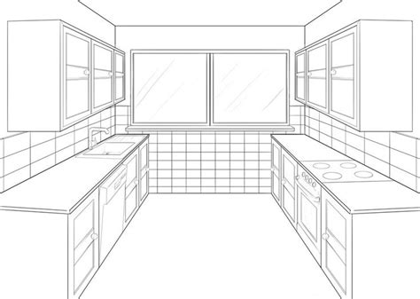 Kitchen 2 Point Perspective by Kitchen Perspective Drawing One Point Perspective
