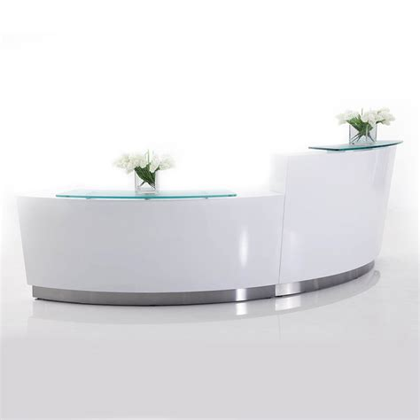 high reception desk brilliance white high gloss curved reception desk single
