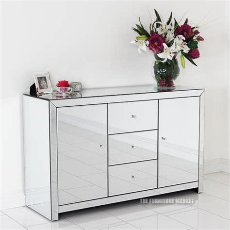 Mirrored Glass Sideboard venetian mirrored glass large sideboard dresser cupboard furniture tfm6