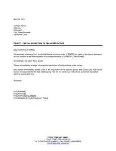Material Cancellation Letter Sample Partial Rejection Of Non Conforming Goods Template